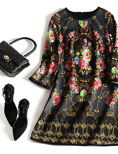 abordables Robes Femme-Femme Rétro Vintage Chinoiserie Mi-long Courte Robe Fleur Arc-en-ciel S M L Demi Manches