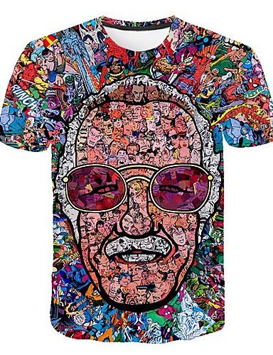 voordelige Heren T-shirts & tanktops-Heren overdreven Print Grote maten - T-shirt 3D / Portret Ronde hals Regenboog XXXXL / Korte mouw