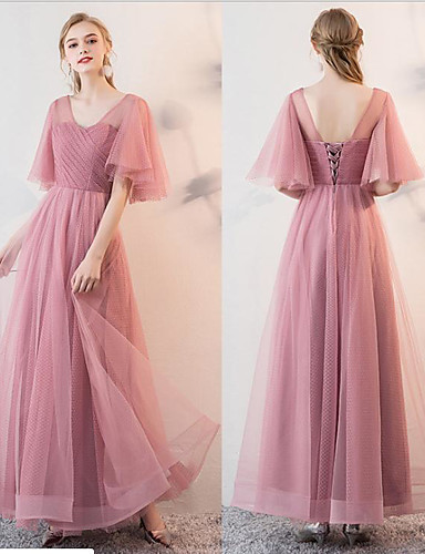 2af08c24de cheap Bridesmaid Dresses-A-Line V Neck / Off Shoulder Floor Length Tulle  Bridesmaid