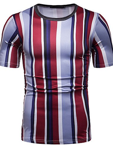 cheap Men's Tees & Tank Tops-Men's EU / US Size Cotton T-shirt - Plaid Patchwork / Print Round Neck Blushing Pink L / Short Sleeve