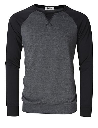 voordelige Heren T-shirts & tanktops-Heren T-shirt Effen Ronde hals Slank Zwart / Lange mouw