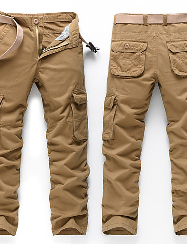 cheap Outdoor Clothing-Men's Solid Color Hiking Cargo Pants Outdoor Multi-Pocket Wear Resistance Autumn / Fall Winter Cotton Pants / Trousers Hiking Outdoor Exercise Multisport Khaki Army Green Blue XXL XXXL 4XL