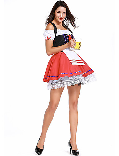 a78a36ae5c3 Women s Beer Festival Oktoberfest Costume Dirndl Elegant Mini A Line Dress  - Color Block Lace Lace up Strap Red One-Size