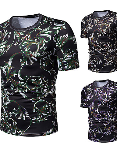 voordelige Herenbovenkleding-Heren Standaard Print T-shirt Bloemen Bruin L