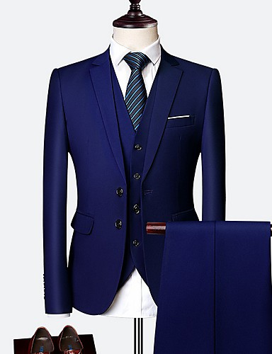 voordelige Herenblazers & kostuums-Heren Pakken Ingesneden revers Polyester Geel / Wijn / Marine Blauw / Slank
