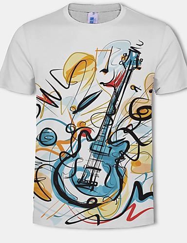 voordelige Heren T-shirts & tanktops-Heren Print Grote maten - T-shirt Katoen 3D / Grafisch Ronde hals Wit