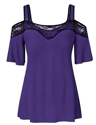abordables Hauts pour Femme-Tee-shirt Femme, Couleur Pleine Mosaïque / Garniture en dentelle Basique / Punk & Gothique Epaules Dénudées Bleu