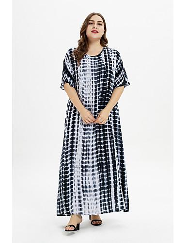 abordables Robes Femme-Femme Bohème Maxi Abaya Robe Géométrique Bleu XL XXL XXXL Manches Courtes