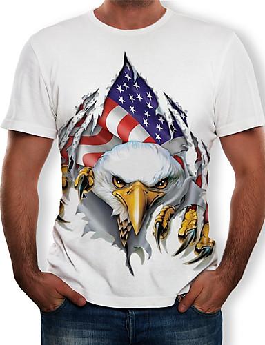 voordelige Herenbovenkleding-Heren Print T-shirt 3D / Grafisch / dier Wit