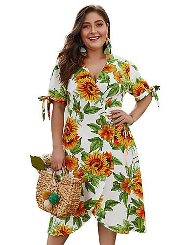 6e51357b5 Mujer Básico Chic de Calle Línea A Vaina Vestido - Volante Estampado
