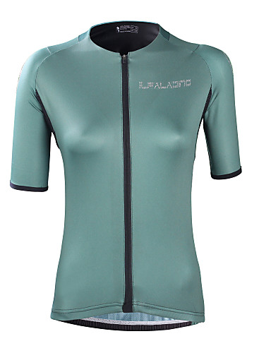 cheap Cycling Clothing-ILPALADINO Women's Short Sleeve Cycling Jersey - Green Solid Color Bike Top UV Resistant Moisture Wicking Quick Dry Sports Elastane Terylene Clothing Apparel