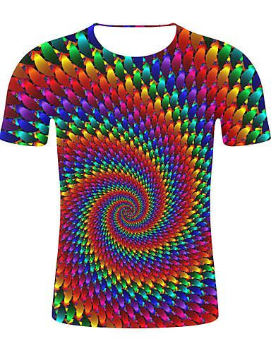 cheap Men's Tees & Tank Tops-Men's Plus Size T-shirt - Color Block Round Neck Rainbow XXL