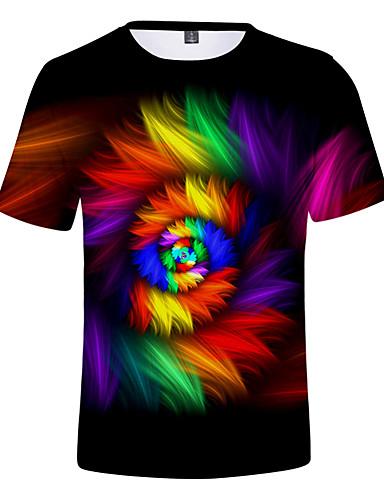 お買い得  メンズTシャツ&タンクトップ-男性用 Tシャツ 3D レインボー XXL