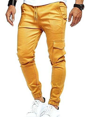 Hombre Básico Delgado Chinos Pantalones - Un Color Gris Amarillo Verde Ejército XL XXL XXXL
