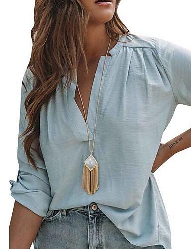 53b6cd2793fe billige Topper til damer-Skjorte Dame - Ensfarget Blå M   V-hals