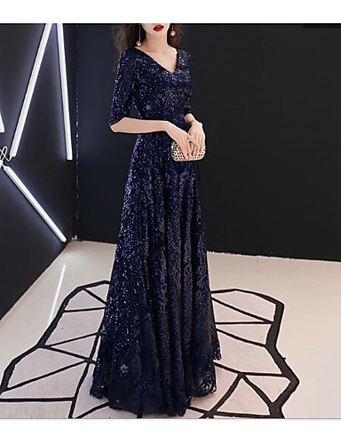 cheap Evening Dresses-A-Line V Neck Floor Length Sequined Dress with Sequin by LAN TING Express