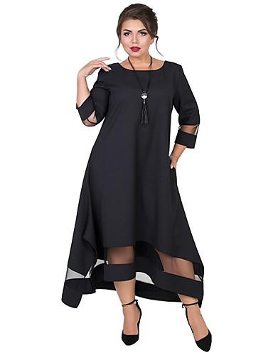 voordelige Grote maten jurken-Dames Standaard Elegant Wijd uitlopend Jurk - Effen, Netstof Patchwork Asymmetrisch