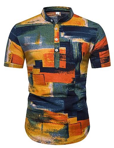 Men's Holiday Club Boho Shirt - Color Block / Camo / Camouflage Print Yellow US38