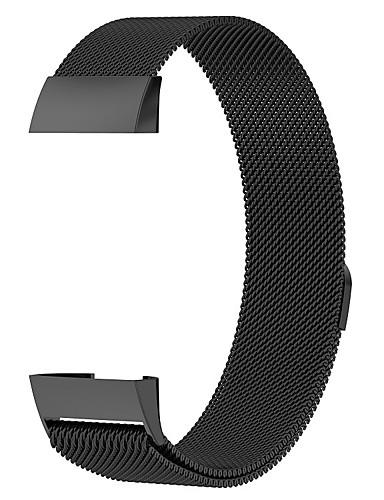 צפו בנד ל Fitbit Charge 3 פיטביט לולאה בסגנון מילאנו מתכת אל חלד רצועת יד לספורט