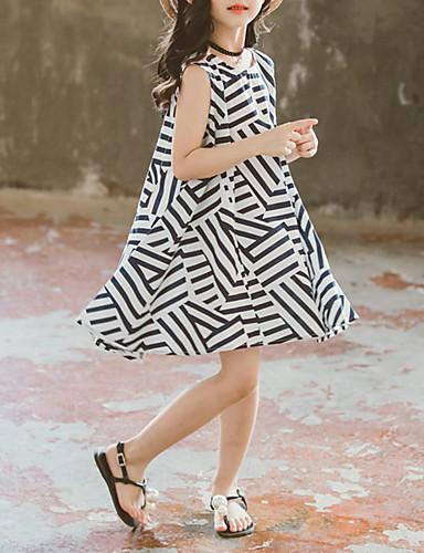 שמלה עד הברך ללא שרוולים טלאים פסים שחור ולבן בסיסי / סגנון רחוב בנות ילדים / כותנה