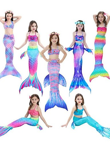 povoljno Movie & TV Theme Costumes-The Little Mermaid Rep Sirene Kupaći kostimi Filmski Cosplay Sirena Pink / Fuschia / Ink Blue Mermaid Fishtail