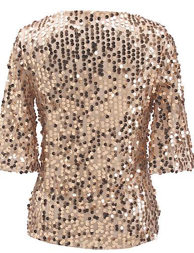 povoljno Ženske majice-Veći konfekcijski brojevi Majica s rukavima Žene - Ulični šik Ulica / Klub Jednobojni Šljokice Crn