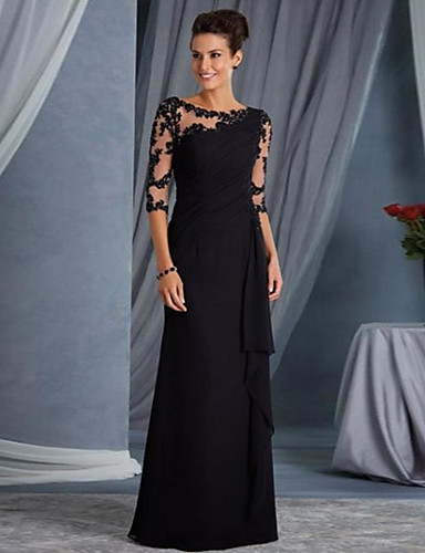 povoljno Crne haljine-A-kroj Ovalni izrez Do poda Čipka See Through Formalna večer Haljina s po LAN TING Express