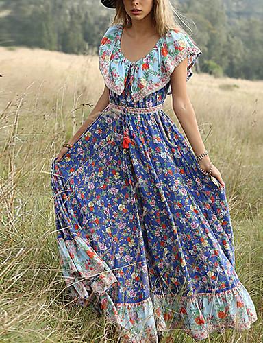 저렴한 여성 드레스-여성용 우아함 스윙 드레스 - 플로럴, 프린트 맥시