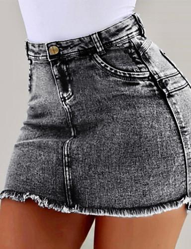 abordables Jupes-Femme Basique Toile de jean Mini Moulante Jupes - Couleur Pleine Noir Bleu clair Bleu S M L / Mince