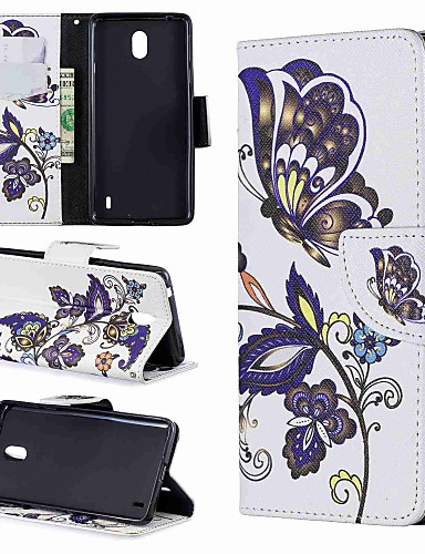 מגן עבור נוקיה 7.1 7.1 / Nokia 5 / Nokia 5.1 ארנק / מחזיק כרטיסים / עמיד בזעזועים כיסוי מלא פרפר / אנימציה קשיח עור PU