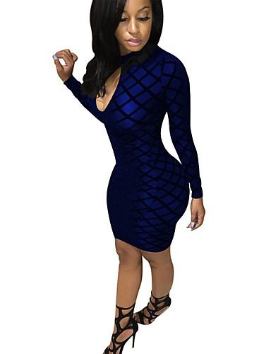 abordables Robes Femme-Femme Basique Midi Moulante Gaine Robe - Dos Nu, Damier Col Roulé Noir Vin Bleu Roi S M L Manches Longues
