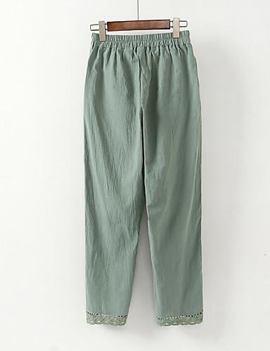 Χαμηλού Κόστους Γυναικεία Παντελόνια-Γυναικεία Κομψό στυλ street Μεγάλα Μεγέθη Φαρδιά Βράκα / Chinos Παντελόνι - Μονόχρωμο Ασπρόμαυρο, Στάμπα Βαμβάκι / Λινό Πράσινο του τριφυλλιού Λευκό L XL XXL