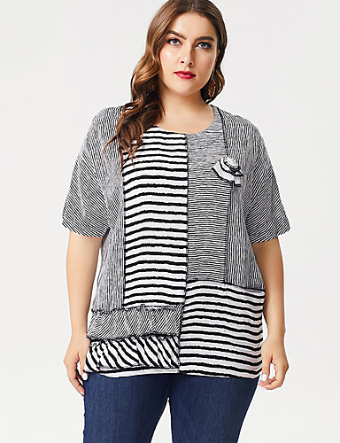 cheap Women's Tops-Women's Casual Daily Wear Basic Plus Size Cotton Loose T-shirt - Striped Patchwork / Print Gray