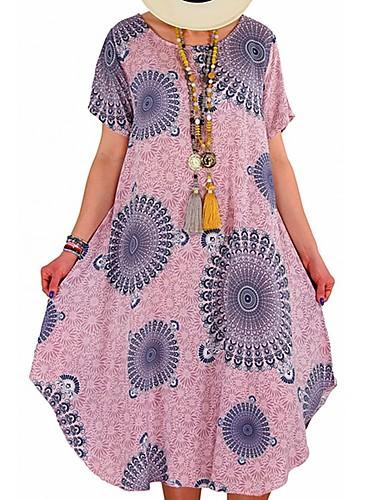 voordelige Grote maten jurken-Dames Standaard Boho T Shirt Wijd uitlopend Jurk - Geometrisch, Patchwork Print Tot de knie