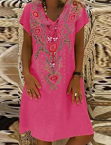 cheap Summer Dresses-Women's T Shirt Dress Floral Fashion V Neck Spring Navy Blue Yellow Fuchsia XL XXL XXXL
