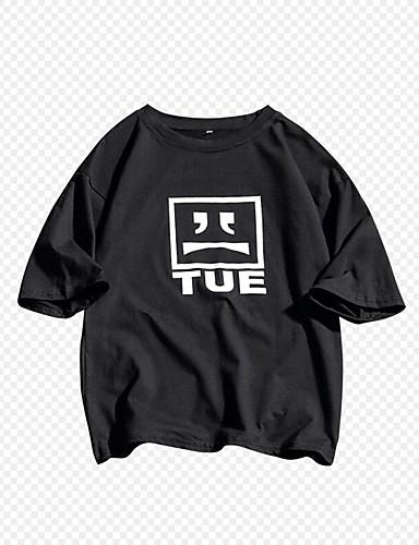 voordelige Heren T-shirts & tanktops-Heren Standaard Print Grote maten - T-shirt Katoen Effen Ronde hals Slank Rood
