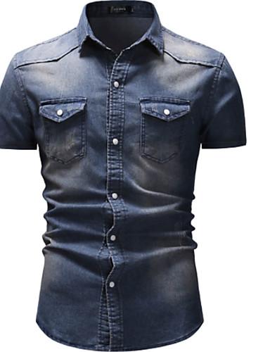olcso Férfi pólók-Utcai sikk Férfi Ing - Egyszínű, Farmer Sötétszürke XL