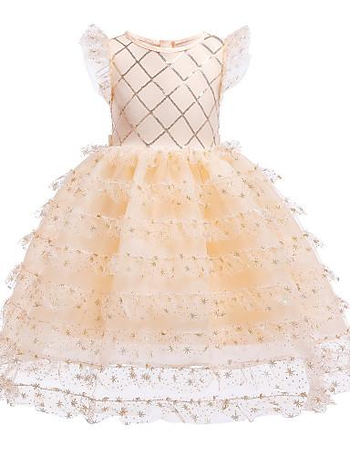 שמלה עד הברך ללא שרוולים תחרה / פאייטים / טלאים פתית שלג מתוק / סגנון רחוב בנות ילדים / פעוטות / כותנה