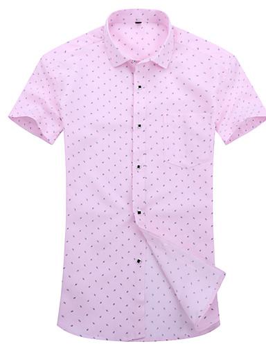 voordelige Herenoverhemden-Heren Zakelijk / Standaard Jacquard / Print Grote maten - Overhemd Polka dot Slank Wit / Korte mouw