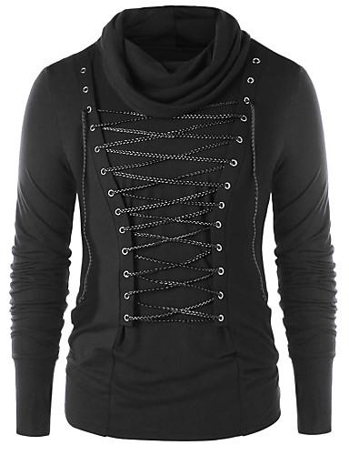 L / XL / XXL שחור צווארון עגול סתיו פוליאסטר, סוודר רגיל גודל אסיה שרוול ארוך אחיד בגדי ריקוד גברים