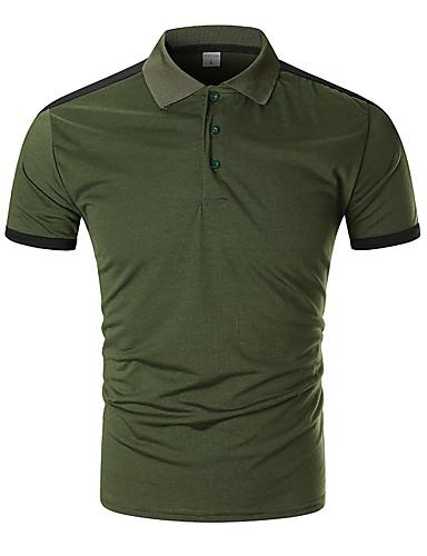 voordelige Herenpolo's-Heren Standaard Patchwork EU / VS maat - Polo Katoen Gestreept Overhemdkraag Zwart / Korte mouw