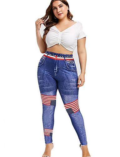 abordables Pantalons Femme-Femme Basique Grandes Tailles Mince Pantalon - Rayé drapeau américain Bleu XXL XXXL XXXXL