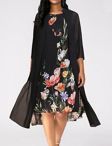 d4adae6d9 فستان نسائي كلاسيكي عصري أنيق طباعة طول الركبة ورد