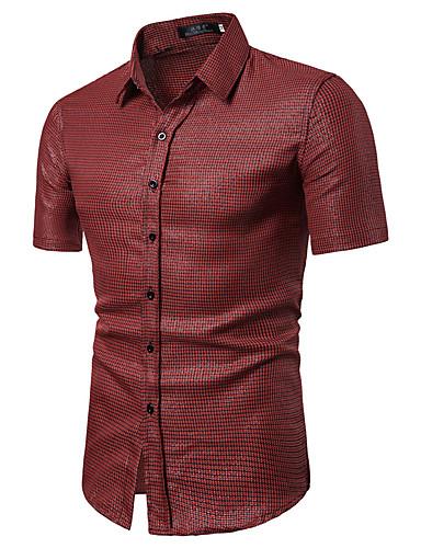 voordelige Herenoverhemden-Heren Vintage / Standaard Print Overhemd Katoen, Werk Ruitjes / Blokken Klassieke boord Fuchsia