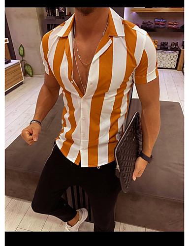 voordelige Herenoverhemden-Heren Standaard / Street chic Print Overhemd Gestreept Slank Zwart / Korte mouw