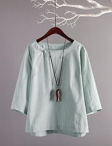 billige Topper til damer-Bomull T-skjorte Dame - Ensfarget, Kryss / Blondér Vintage / Chinoiserie Lyseblå