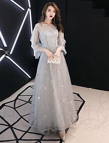 7e62a24b69 A-Line V Neck Ankle Length Tulle Sparkle & Shine Prom Dress with Sequin / Criss  Cross by LAN TING Express / Puff / Balloon Sleeve