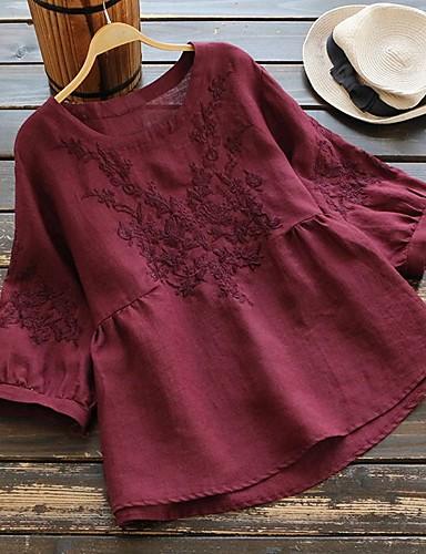 povoljno Ženske majice-Majica s rukavima Žene - Vintage / Kinezerije Kauzalni / Dom Pamuk Cvjetni print / Etno Širok kroj, Vezeno Lila-roza