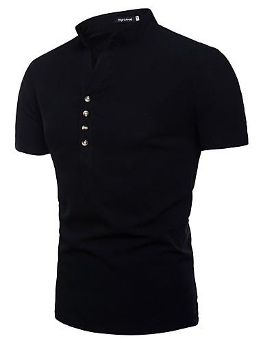voordelige Herenoverhemden-Heren Standaard EU / VS maat - Overhemd Katoen / Linnen Effen Buttondown boord / Opstaande boord Wijn / Korte mouw