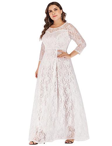 billige Kjoler-Dame Grunnleggende Elegant A-linje Kjole - Ensfarget, Netting Trykt mønster Maksi